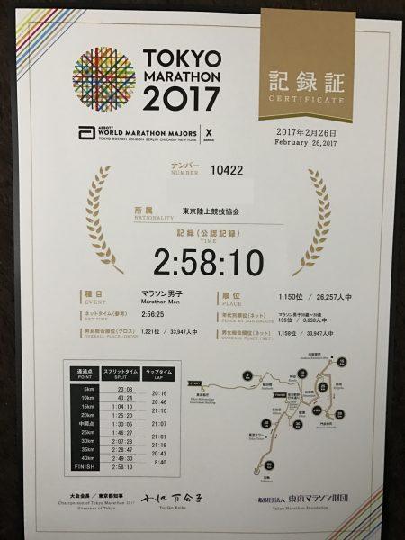東京マラソン 記録証